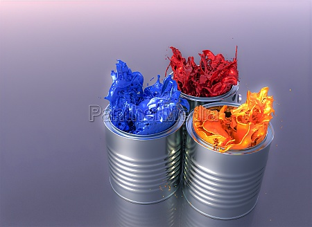 color explosion of paint cans