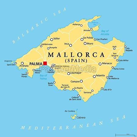 mallorca majorca political map with capital