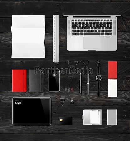 office desk branding mockup top view