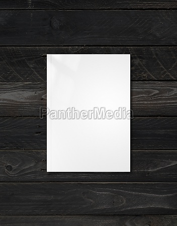 white booklet cover template on black