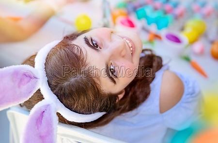 little girl enjoying easter