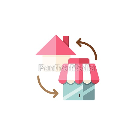 house and shop home shopping concept