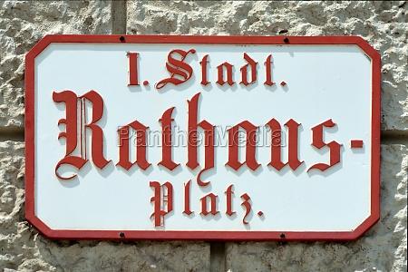 street sign of rathausplatz in vienna