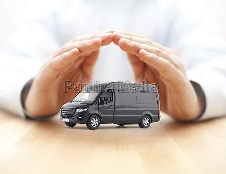 transport black van car protected by