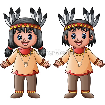 cartoon children native indian american