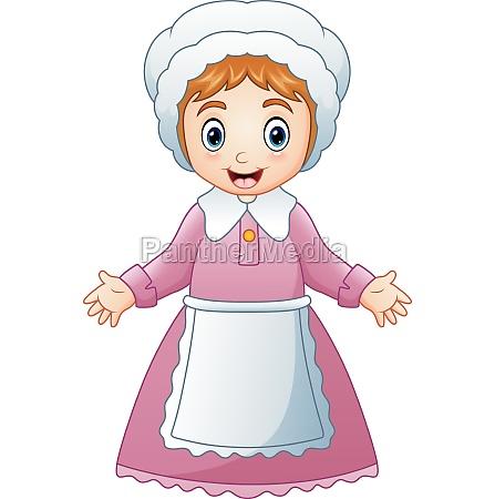 vector illustration of cartoon pilgrim woman