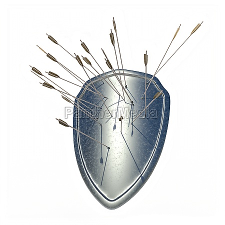 metal shield with stuck arrows