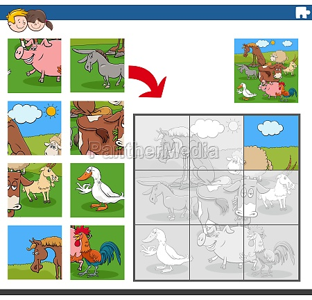 jigsaw puzzle game with funny farm