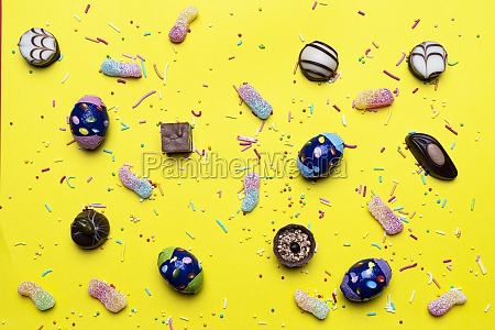 sweets on a yellow surface