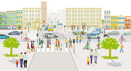 city silhouette with pedestrians and road