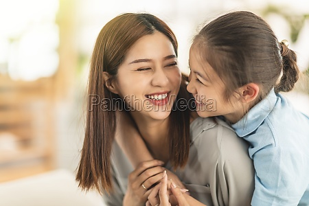 happy mother and little girl daughter
