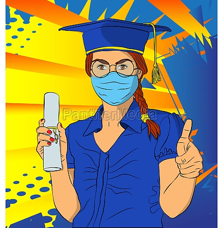 graduation girl wearing face mask and