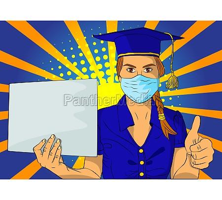 student graduation girl wearing face mask