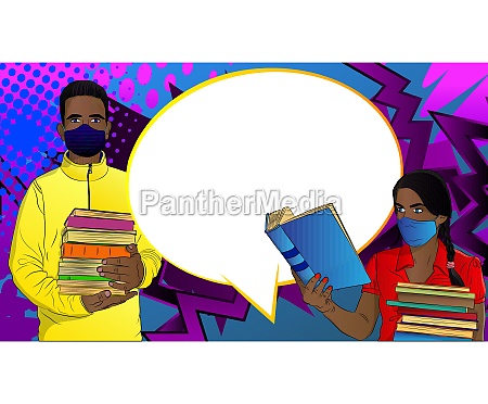 afro american male and female student