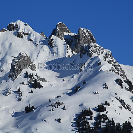 snow covered mountains gams chopf and