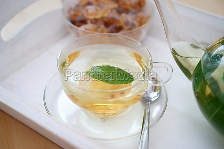 fresh brewed mint tea on tray
