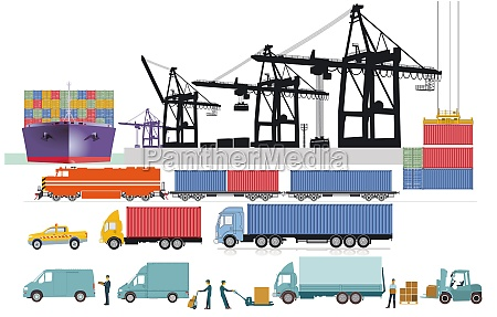 container crane logistics and port with