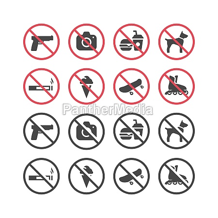 red prohibition vector icon set