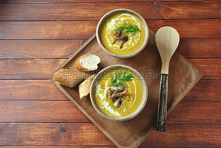 pumpkin cream soup with cream and