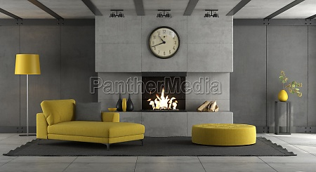 living room with fireplace and yellow