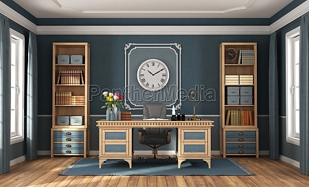 classic style home office with blue