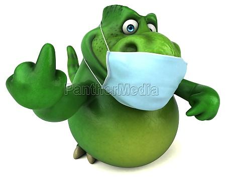 fun cartoon dinosaur with a mask