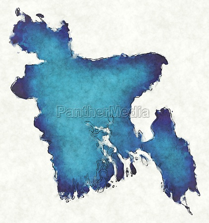 bangladesh map with drawn lines and