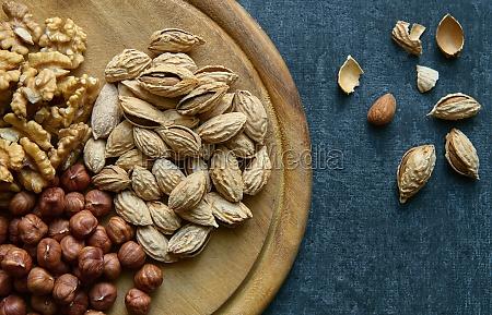almonds hazelnuts walnuts top view healthy