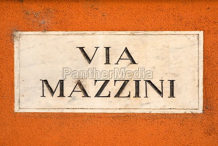street sign of the via mazzini