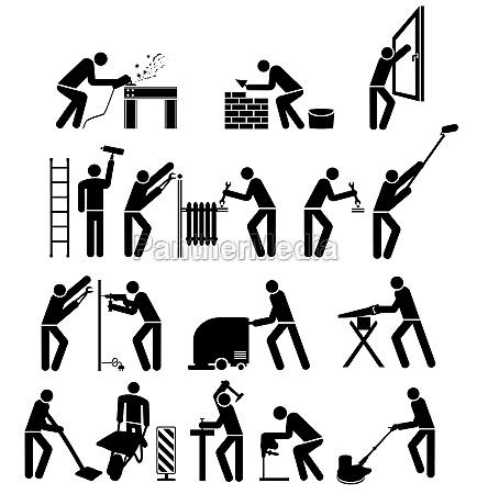 set of craftsmen pictogram isolated illustration