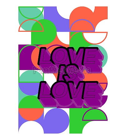 love is love text on retro