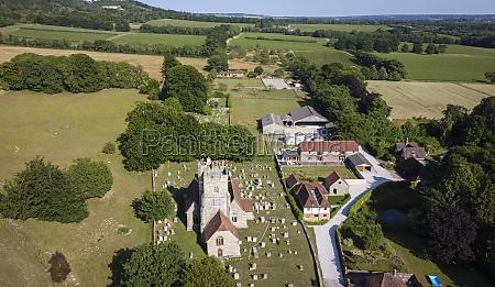 aerial view of a village church