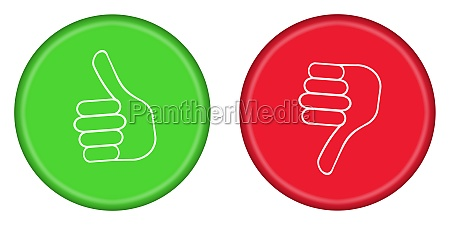 thumbs up and down icons with