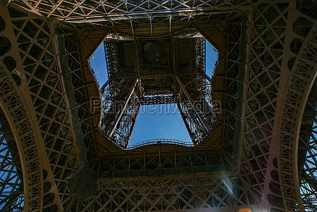 the eiffel tower and blue sky