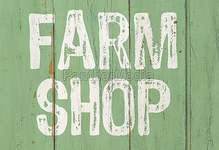 wooden retro sign farm shop