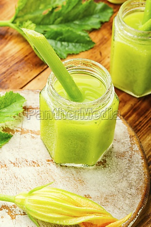 fresh green smoothie with smoothie