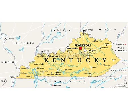 kentucky ky political map bluegrass state
