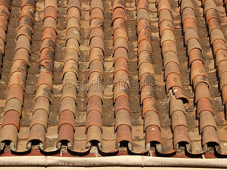 worn old tile brick roof with