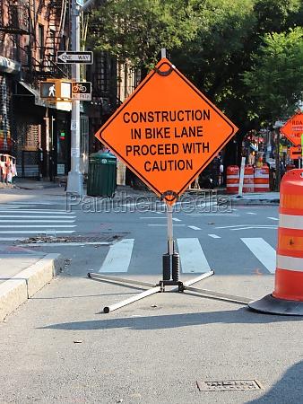 bike path road work orange warning