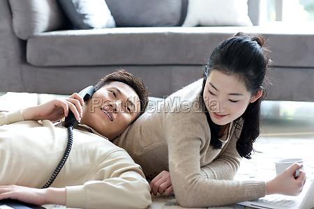 a couple snuggle together