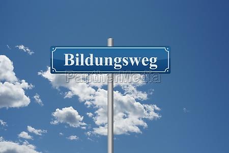german word educational path on road