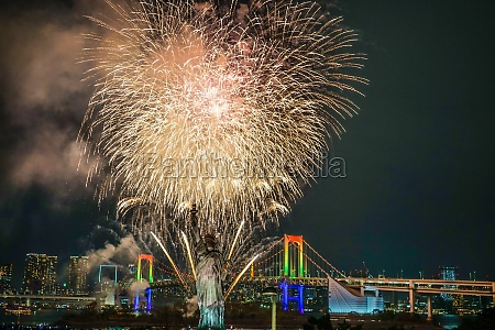 tokyo night view and fireworks odaiba