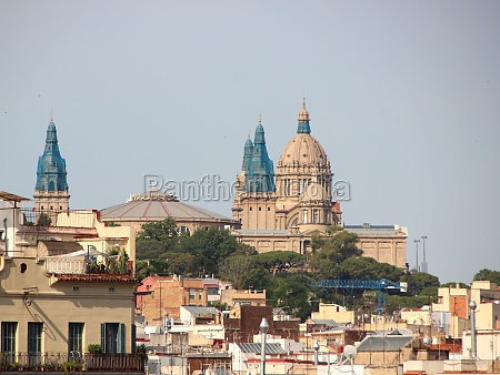 city view over museum of catalonia