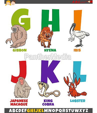 cartoon alphabet set with comic animal