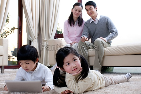 children learn computer at home