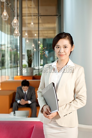 smile businesswoman set two people office