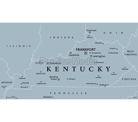 kentucky ky gray political map bluegrass