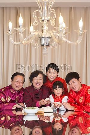 family celebrate new year