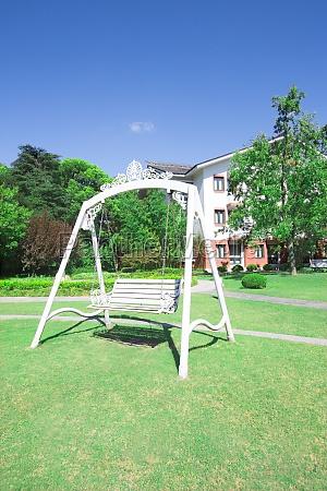 summer tree lined park