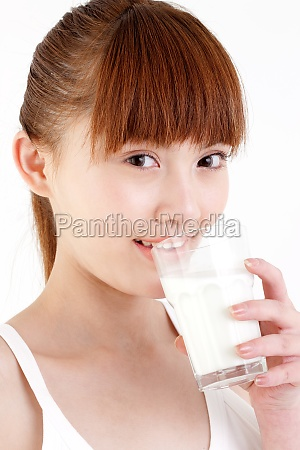 vertical composition young woman drink oriental